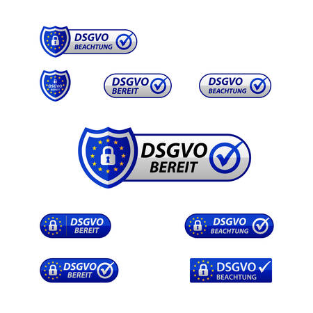 DSGVO General Data Protection Regulation Notification web button. Illustration
