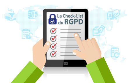 RGPD General Data Protection Regulation Checklist 스톡 콘텐츠