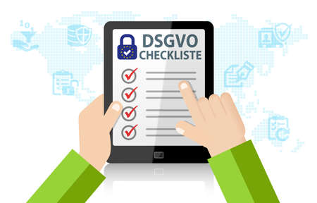 DSGVO General Data Protection Regulation Checklist Stock Photo