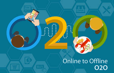 Online to offline O2O fresh food market dining shopping retail experience concept infographic Stock Photo