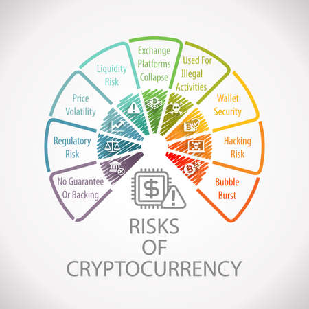 Risks of Electronic Crypto Currency Wheel Infographic