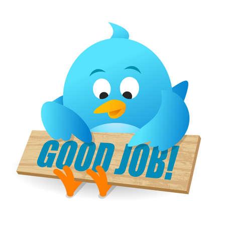 Blue Bird Good Job Announcement Notice Board Banco de Imagens