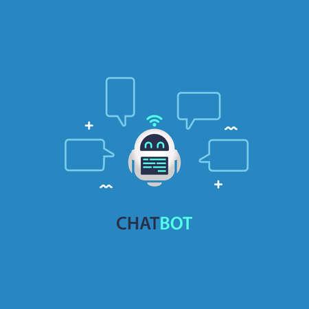 Chatbot Robo Advisor Conversation with Speech Bubbles Vectores