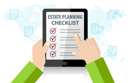 Estate Planning Checklist  Infographic vector illustration Banque d'images