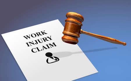 Réclamation pour blessure au travail avec un marteau légal Banque d'images