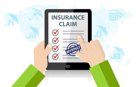 Online Insurance Claim Service. Life, injury, medical, home, car Insurance Stock Photo