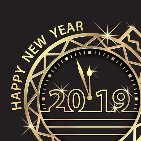 Happy New Year 2019. Countdown Holiday Celebration Greeting With Golden Ball Ornament
