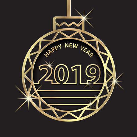 Happy New Year 2019. Holiday Celebration Greeting With Golden Ball Ornament
