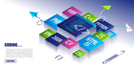 Coding And Development Icons Concept Banner With Various Programming Languages. css, html, java, php, python, ruby, sql, c#, js, c++, xml