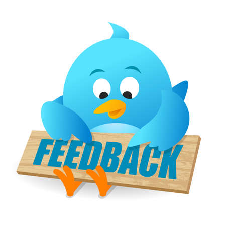 Blue Bird User Feedback Review Announcement Notice Board Фото со стока