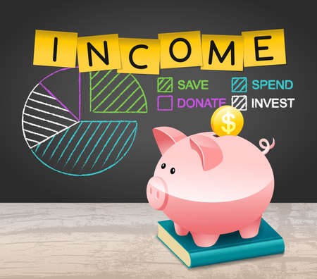 Piggy Bank Income Distribution Expenditure Spend More concept Background. Save Investment Spend Donation