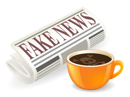 Fake News Newspaper Hoax Warning With Coffee Cup