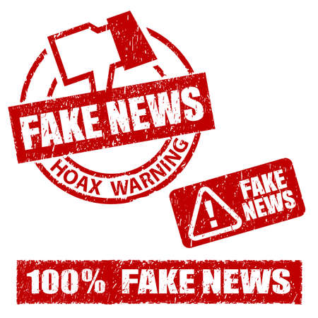 Fake News Hoax Warning Rubber Stamp Фото со стока
