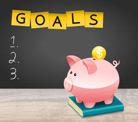 New Year Financial Goals List With Dollar Coin and Piggy Bank