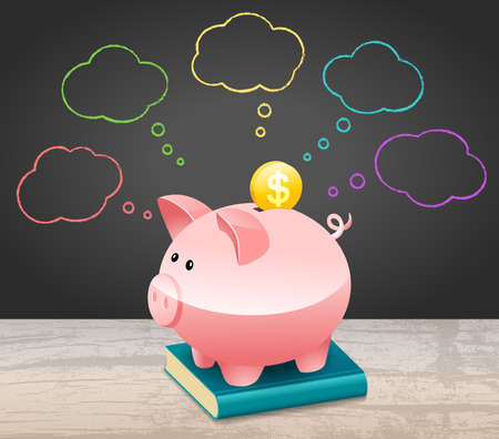 New Year Financial Goals Speech Bubble With Dollar Coin and Piggy Bank