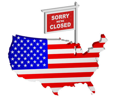 Sorry Were Closed Sign Post represent USA Government Shutdown