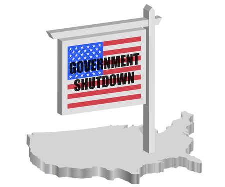 USA Government Shutdown Sign Post