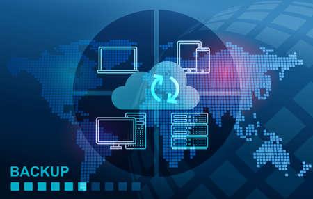 Backup Storage Data System Cloud for mobile tablet notebook computer server Stock Photo