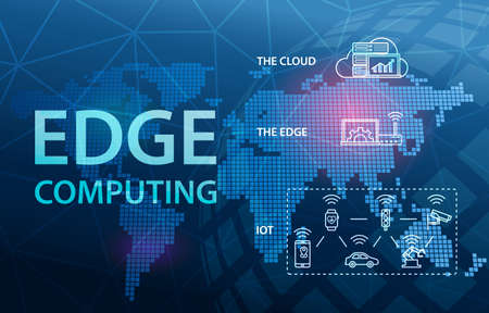 Edge Computing Internet Cloud Technology Concept Background Фото со стока