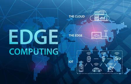 Fondo de concepto de tecnología de nube de Internet de Edge Computing
