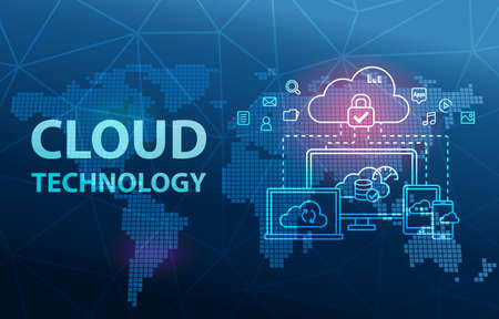 Cloud Technology Computing Network Data Storage Analytics Background Banco de Imagens
