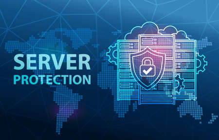 Server Protection Data Center Cloud Connection Security Concept Background
