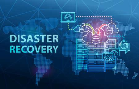 Fondo de concepto de prevención de pérdida de datos de servidor de nube de recuperación ante desastres Foto de archivo