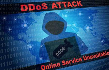 DDOS Attack Malware Hacker Around The World Background with faceless hooded person Stock Photo - 133811117