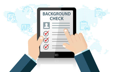 Recruitment background check on tablet