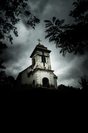in monastery: Grim-cloudy day above Church of  Holly Cross (Vrsac, Serbia)