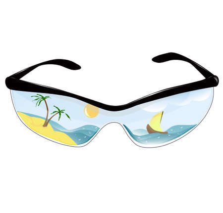 Summer sunglasses with the reflection of a tropical island Stock Vector - 13769270