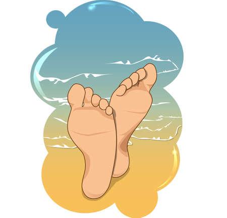 pies: A los pies en la playa