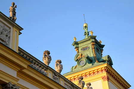 A view of the historic royal palace in Wilanow in Warsaw Stock Photo