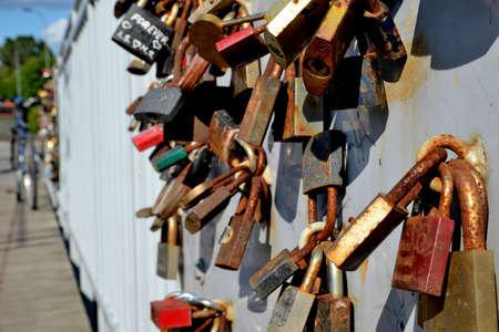Padlocks in love on the bridge Stock Photo