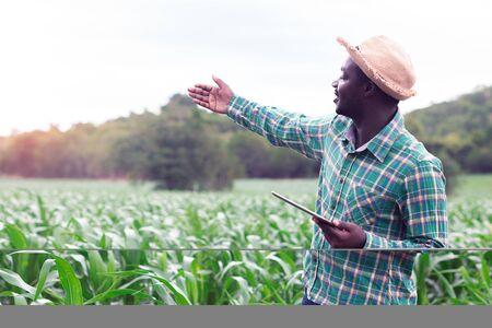 Afrykański rolnik stoi na zielonej farmie z tabletem do trzymania