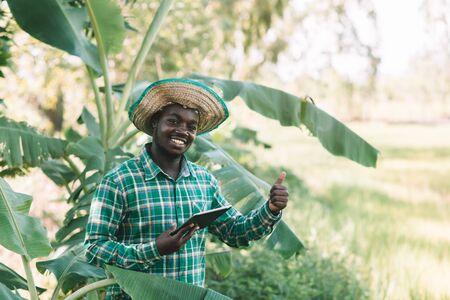 African farmer man looking tablet at organic farm