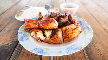 Spicy chicken roasted with chilli sauce
