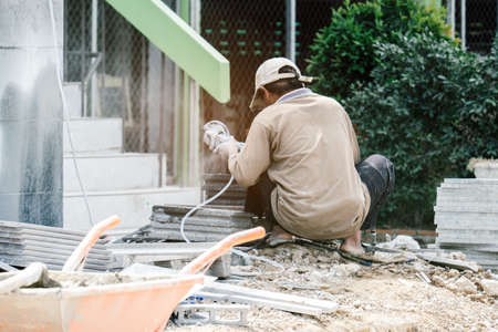 Construction worker working hard in construction site
