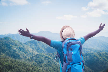 Freedom african traveler exploring in the world concept Stock fotó