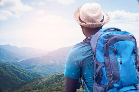 African traveler exploring in the world concept