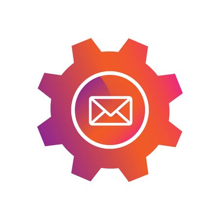 setting envelope mail button vector icon