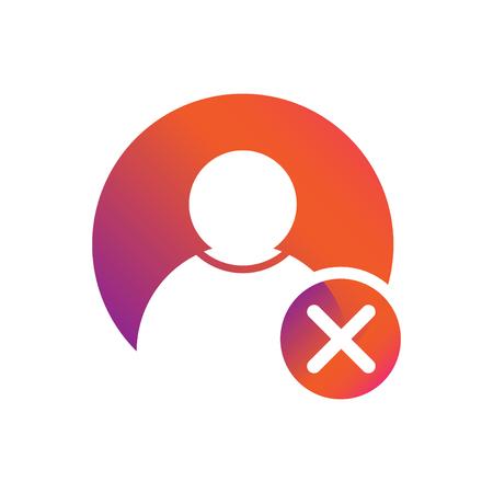 People / user icon with delete symbol vector icon Illustration