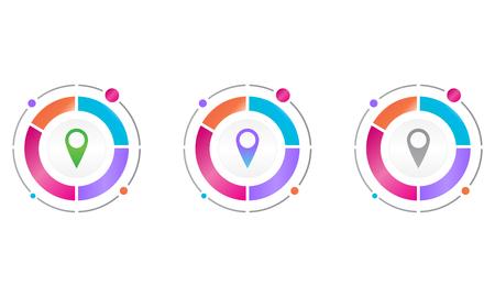 circle diagram with location icon . vector icon concept 일러스트