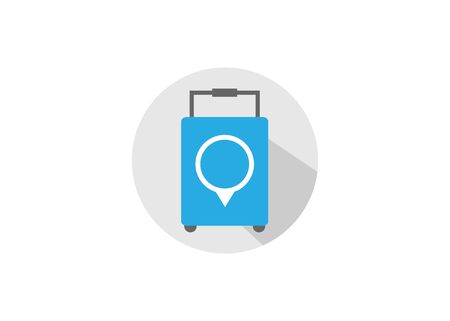 suitcase and location, flat design style vector icon