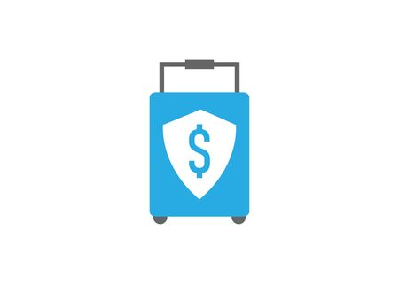 suitcase and security shield, flat design style vector icon
