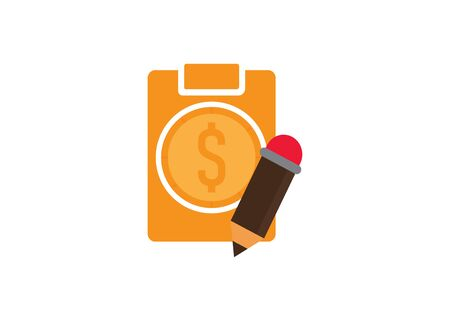 clipboard money and pencil, flat design style vector illustration