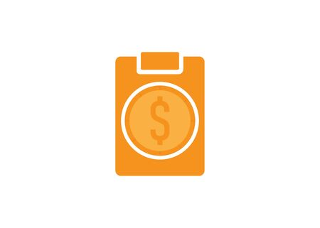 clipboard and money, flat design style vector illustration