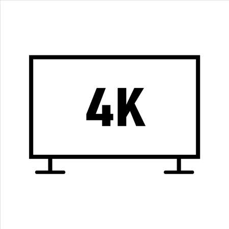 4k tv icon vector. outline style icon