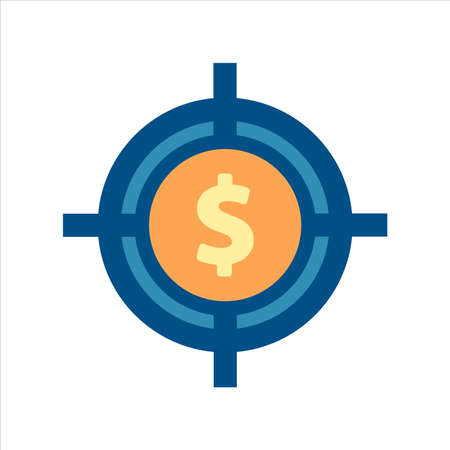 target icon vector. target with money icon. finance icon concept.flat design style icon vector 向量圖像