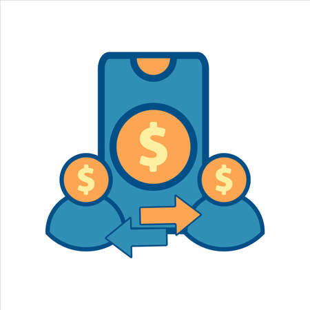 smartphone icon vector. smartphone with money and transfer icon .flat design style financial icon vector concept Ilustração